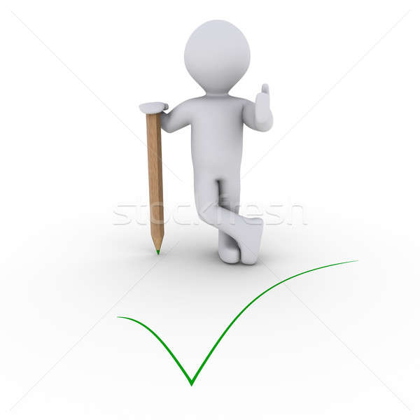 Person leaning on pencil and a green check mark Stock photo © 6kor3dos