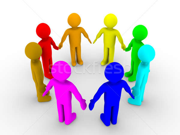 Stock photo: Different people in a circle