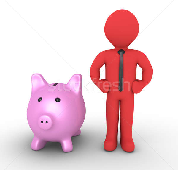Pig money box and businessman Stock photo © 6kor3dos