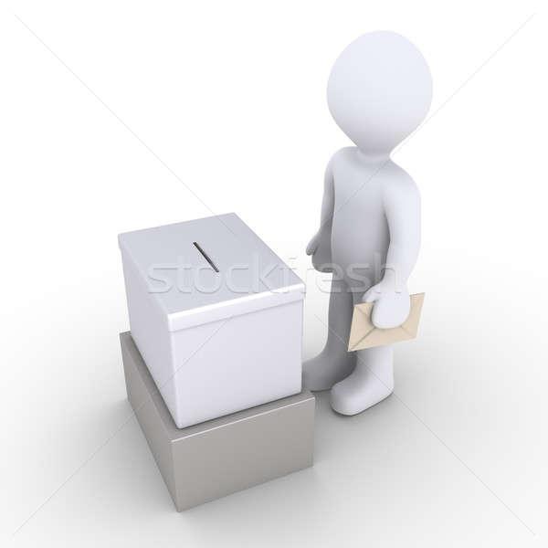 Persoon permanente stemmen vak 3d persoon Stockfoto © 6kor3dos
