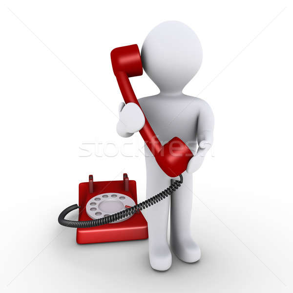 Személy tart telefonkagyló 3d személy iroda kapcsolat Stock fotó © 6kor3dos