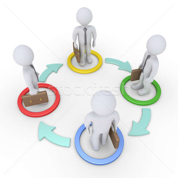 Interacción empresarios cuatro dentro círculos flechas Foto stock © 6kor3dos