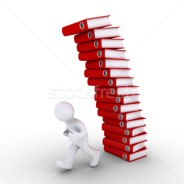 Person is avoiding a falling pile of folders Stock photo © 6kor3dos