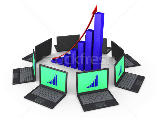 Network of laptops for good financial results Stock photo © 6kor3dos