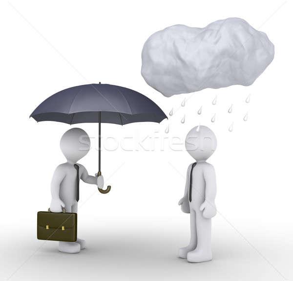Işadamı şemsiye şanssız kişi 3D teklif Stok fotoğraf © 6kor3dos