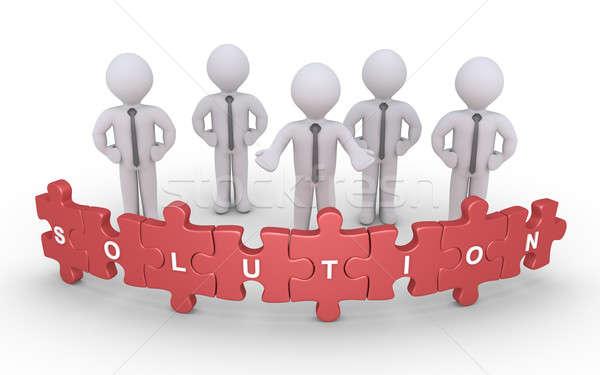 ビジネス ソリューション パズル ビジネスマン 立って 後ろ ストックフォト © 6kor3dos