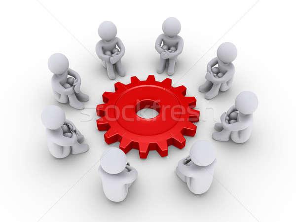 Oito pessoas em torno de oito 3d pessoas sessão Foto stock © 6kor3dos