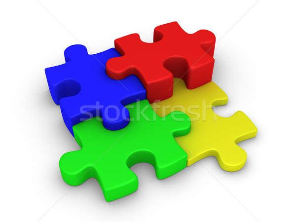 Quatre pièces de puzzle différent 3D entreprise Photo stock © 6kor3dos