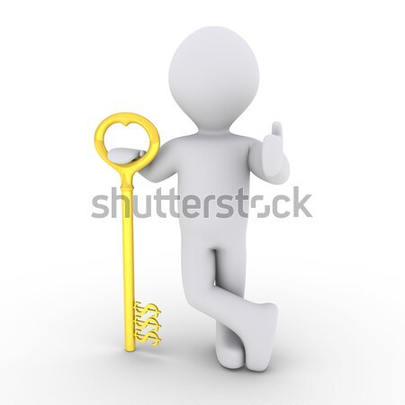 Happy businessman with success key Stock photo © 6kor3dos