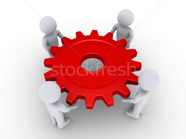 Quatre personnes Cog quatre gens 3d rouge Photo stock © 6kor3dos