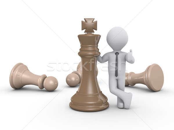3d businessman and king chess piece Stock photo © 6kor3dos