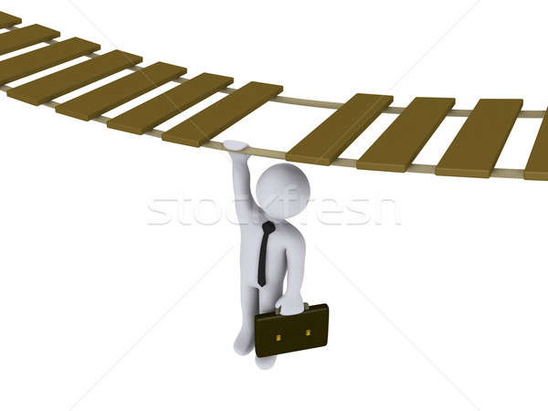 Businessman hanging from a suspended bridge Stock photo © 6kor3dos