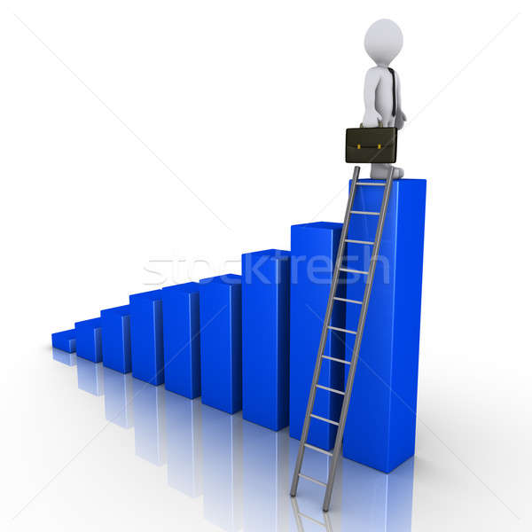 Businessman standing on top of chart with ladder Stock photo © 6kor3dos