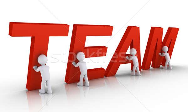 Négy személy csapat levelek négy 3d emberek együtt Stock fotó © 6kor3dos