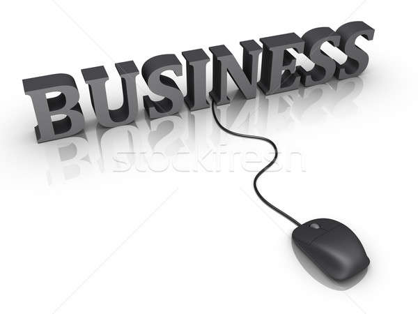 Stock photo: Business word and a mouse connected to it