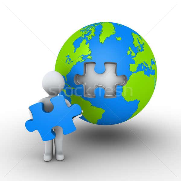 ストックフォト: 人 · パズル · 作品 · 地球 · 3dの人