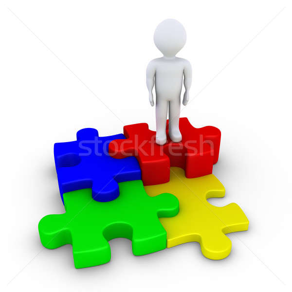 Four puzzle pieces connected and a person Stock photo © 6kor3dos