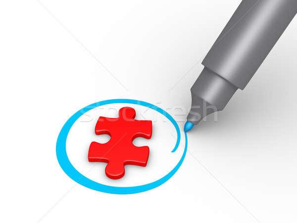 Quebra-cabeça peça selecionado 3D círculo azul Foto stock © 6kor3dos