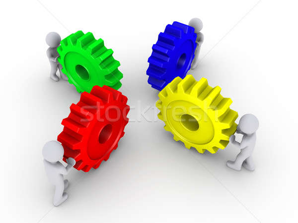 Stock photo: Put the right cogs together