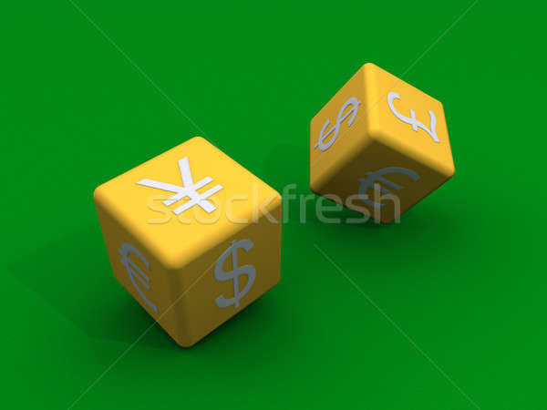Dice with currency symbols at their sides Stock photo © 6kor3dos