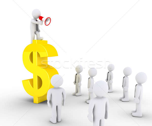 Businessman on dollar symbol is calling to others Stock photo © 6kor3dos