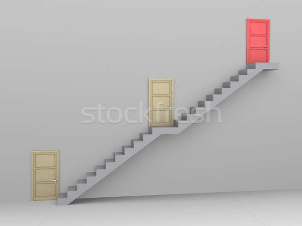 ビジネス 挑戦 階段 3  ドア 1 ストックフォト © 6kor3dos