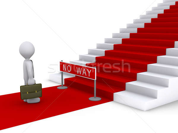 Businessman in front of stairs with no way sign Stock photo © 6kor3dos