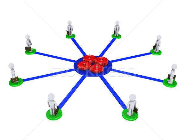 Eight businessmen connected to four cogs Stock photo © 6kor3dos