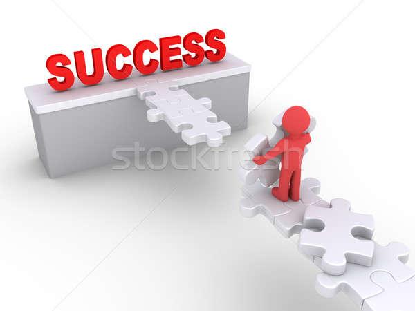 Personne atteindre succès personne 3d pièces de puzzle construire Photo stock © 6kor3dos