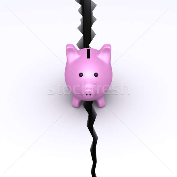 Pig money box on collapsing ground Stock photo © 6kor3dos