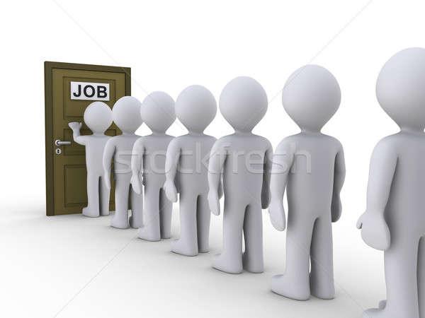 Porte Emploi gens 3d ligne attente entretien d'embauche Photo stock © 6kor3dos