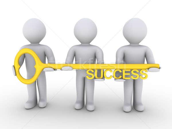 équipe clé succès trois gens 3d Photo stock © 6kor3dos