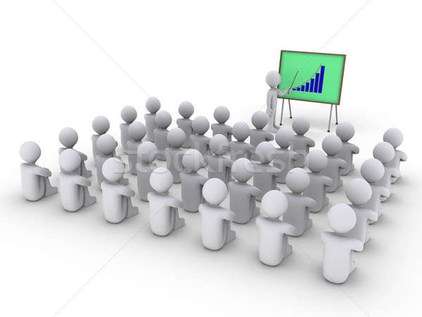 Person is showing a board with graph to many others Stock photo © 6kor3dos