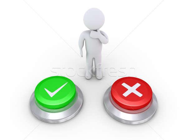 Person thinking the correct button to push Stock photo © 6kor3dos