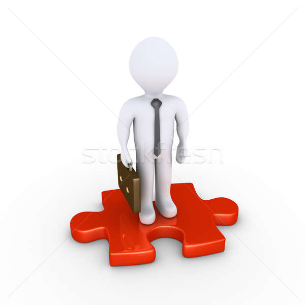 Businessman standing on puzzle piece Stock photo © 6kor3dos