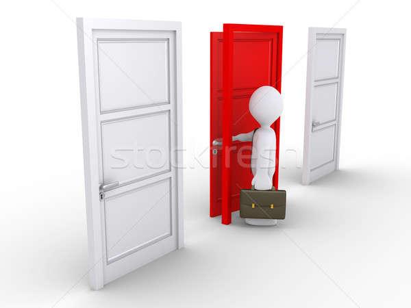 ビジネスマン 赤 ドア 3D 開設 ストックフォト © 6kor3dos