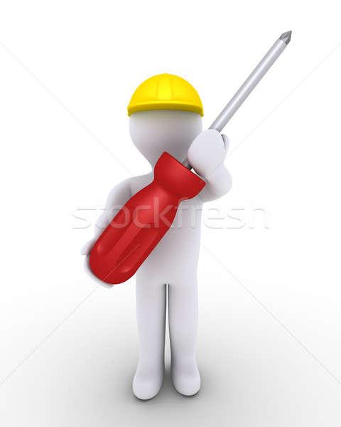 Persona lavoratore cacciavite 3d persona casco Foto d'archivio © 6kor3dos