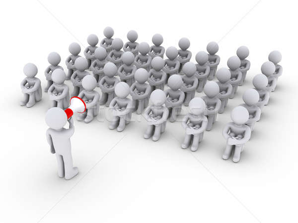 Person with megaphone talking to others sitting down Stock photo © 6kor3dos