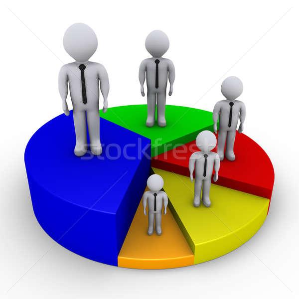 Stock fotó: Különböző · emberek · kördiagram · 3D · üzletemberek · darabok