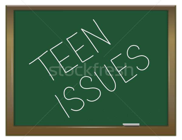 Teen illustratie groene schoolbord geschreven familie Stockfoto © 72soul
