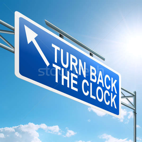 Drehen zurück Uhr Illustration blauer Himmel Stock foto © 72soul