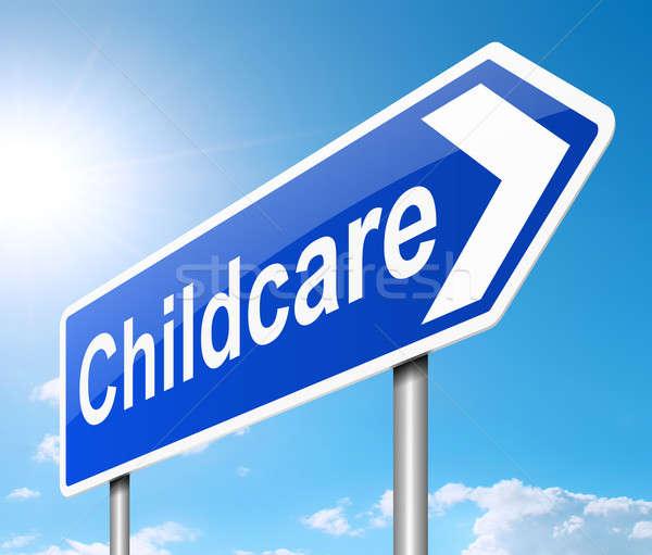 Gyermekgondozás illusztráció felirat égbolt gyermek háttér Stock fotó © 72soul