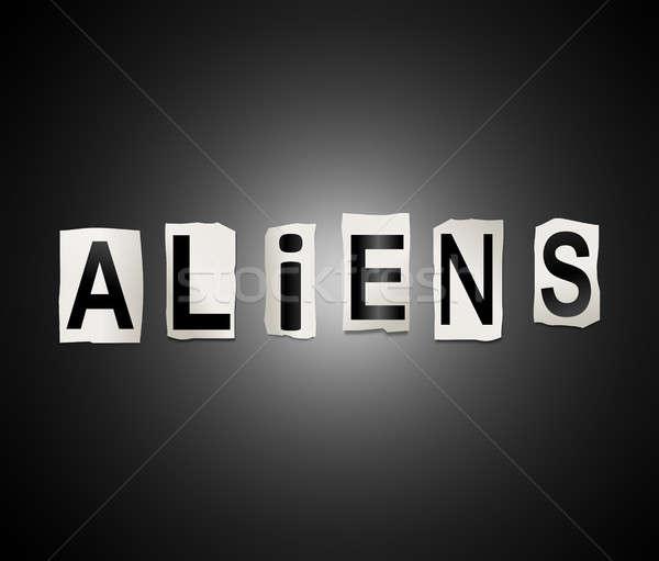 Alienígena palavra ilustração conjunto impresso Foto stock © 72soul