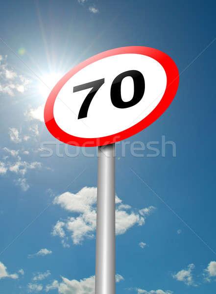 Snelheidslimiet teken illustratie verkeersbord blauwe hemel zonlicht Stockfoto © 72soul