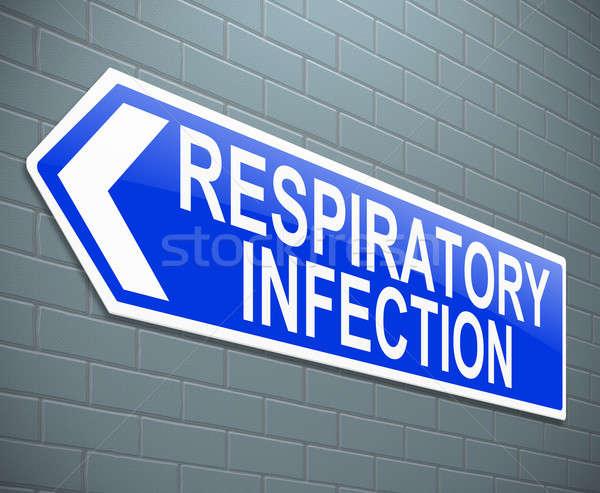 Oddechowy zakażenie ilustracja podpisania medycznych niebieski Zdjęcia stock © 72soul