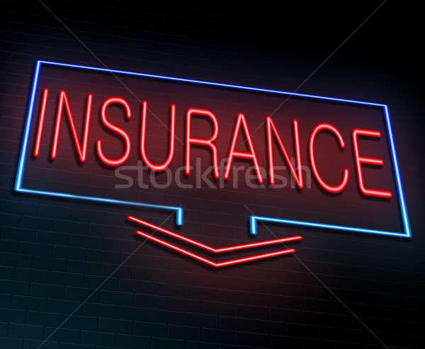 Assurance illustration enseigne au néon rouge lumières Photo stock © 72soul