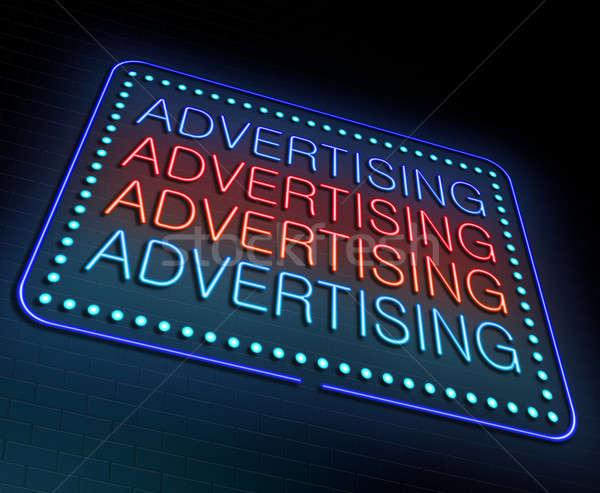 Reclame illustratie verlicht neonreclame business Rood Stockfoto © 72soul