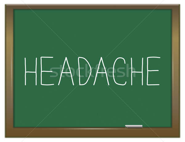 Hoofdpijn illustratie groene schoolbord onderwijs pijn Stockfoto © 72soul