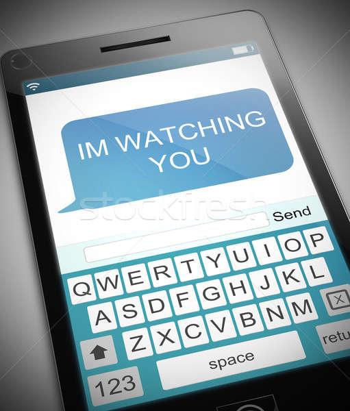 смотрят иллюстрация телефон мобильных сотового телефона мобильного телефона Сток-фото © 72soul