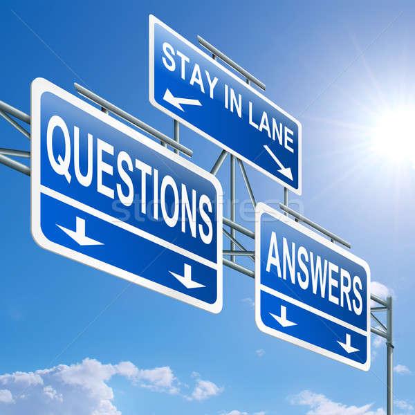 Kérdések válaszok illusztráció autópálya felirat kék ég Stock fotó © 72soul
